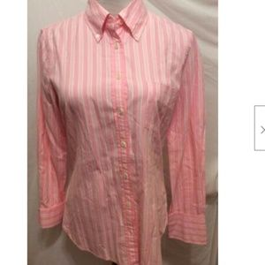J. Crew Blouse S Pink White Striped Button Front